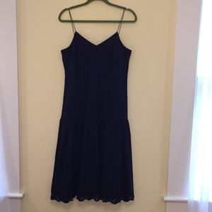 JCrew Navy Blue Dress with Tiered Skirt